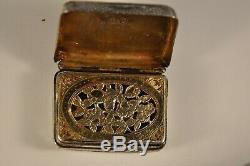 Boite Vinaigrette Ancien Argent Massif Vermeil Antique Georgian Solid Silver Box