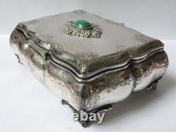 Boite à bijoux en argent massif + vermeil + malachite silver box ancien