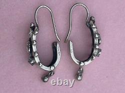 Boucles Doreilles Anciennes Dormeuses Argent 19ème Antique Etruscan Earrings
