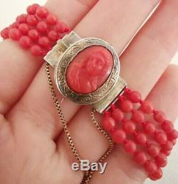 Bracelet Ancien 19e Perles Et Camée En Corail Rouge, Fermoir En Argent 17cm