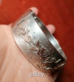 Bracelet Ancien En Argent Avec 2 Oiseaux Et Fleurs En Or Vers 1890-1905