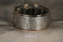 Bracelet Ancien Napoleon III Argent Massif Putti Antique Solid Silver Bangle XIX