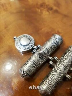 Bracelet Argent Turquoise Ancien Qajar Perse Iran Boîte Berbère Calligraphie