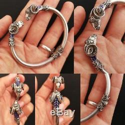 Bracelet Bélier Ancien Émaillé En Argent Massif