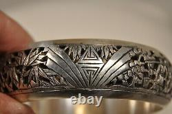 Bracelet Chinois Ancien Argent Massif Antique Chinese Solid Silver Bangle