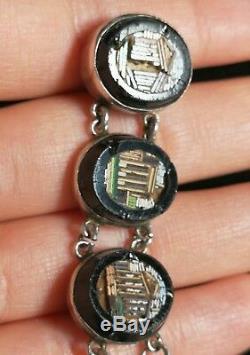 Bracelet Mosaïque Ancien 19ème Siècle En Argent Massif