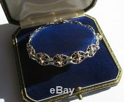 Bracelet ancien Filigranes breloque Silver argent massif 11,2g 19cm