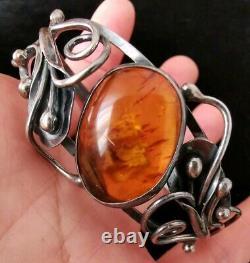 Bracelet ancien ambre en argent massif