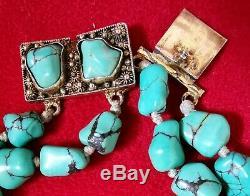 Bracelet ancien turquoise vermeil en argent massif