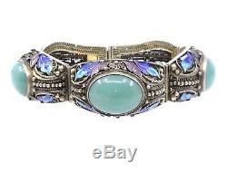 Bracelet chinois ancien argent massif vermeil jade et émail Epoque 1940