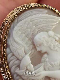 Broche Camée Ancienne D'hébé et L'aigle Gravé Sûr Coquillage En Or