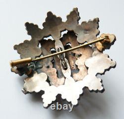 Broche Médaillon grenat 19e bijou ancien garnet victorian brooch