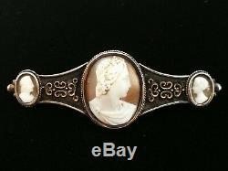 Broche ancienne début de 19e siècle en argent et or massif et 3 camées superbes