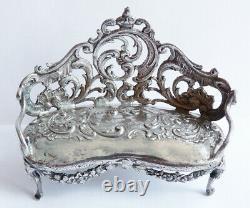Canapé banquette meuble miniature argent massif Ancien silver antique