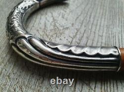 Canne ancienne Art Nouveau pommeau métal argent