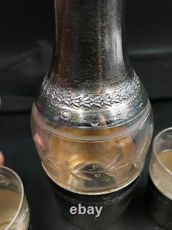 Carafe Ancienne Et Paire De Verres à digestif En Cristal Et En Argent Massif XIX