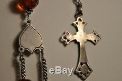 Chapelet Ancien Ambre Argent Massif Antique Solid Silver Amber Rosary XIX
