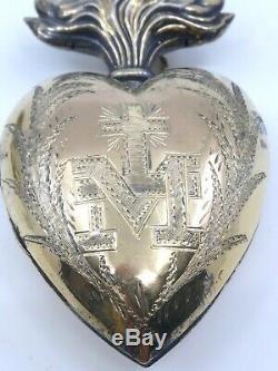 Coeur de Marie ancien en argent massif vermeil reliquaire Ex voto pendentif XIXe
