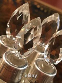 Coffret Senteur 4 Flacons Parfum Cristal Et Argent Massif / Argenterie Ancienne