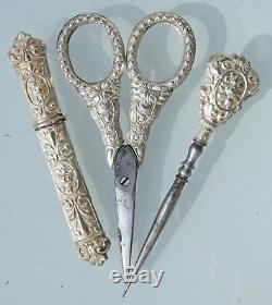 Coffret boite étui Nécessaire set de couture ancien coudre XIXè ARGENT MASSIF