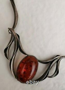 Collier Ancien Ambre Articulé En Argent Massif, Signé MW, Art Nouveau