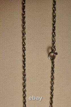 Collier Ancien Argent Massif Citrine Paillon Antique Silver Foiled Stone Necklac