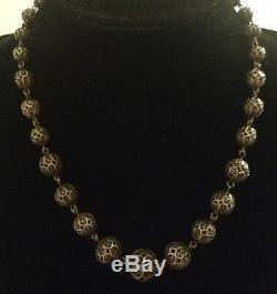 Collier Ancien Perles filigrane En Argent Massif