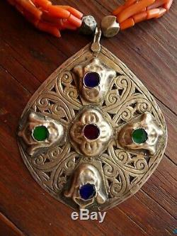 Collier Maroc Perles Corail Ancien Pendentifs Argent Antique Moroccan Necklace