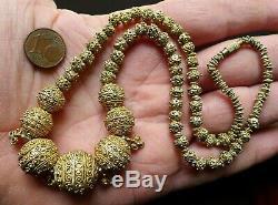 Collier Perle Argent Filigrané Ancien Mauritanie Afrique Antique Granulated Bead