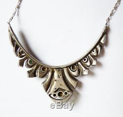 Collier pendentif ART DECO argent massif + strass necklace silver ancien
