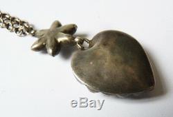 Collier + pendentif argent massif coeur de Marie bijou ancien 19e siecle heart
