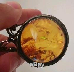 Collier sautoir ancien ambre en argent massif