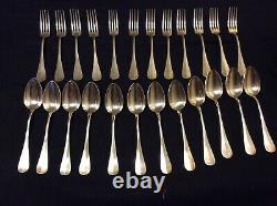 Couverts anciens russes en argent 84 Coffret de 12 fourchettes + 12 cuillères