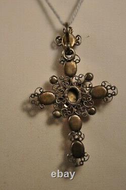 Croix Ancien Argent Massif Pierres Sur Paillon Antique Solid Silver Foiled Cross