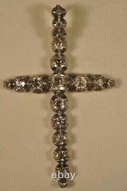 Croix Bijou Regional Ancien Or Massif Argent Antique Solid Gold Silver Cross XIX