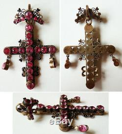 Croix pendentif argent massif Bijou régional Provence ancien silver cross 12 gr