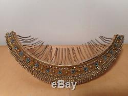 Diadème peigne bijoux ancien tiare XIX 19 siècle argent laiton perle fantaisie