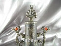 Flacon à Khôl Argent Corail, M'Khala Algérie Fin XIXème, Flacon Ottoman Ancien