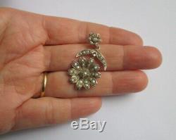 Grand pendentif ancien Napoléon III Fleur perles Argent massif silver charm