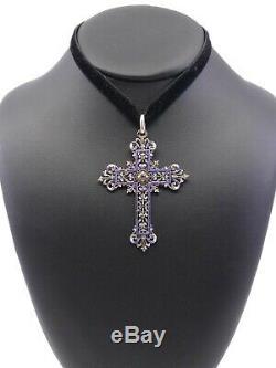 Grande croix ancienne en argent massif email et grenat XIXeme fleur de lys