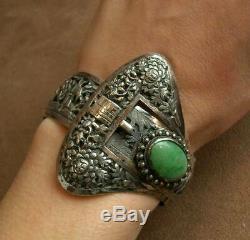 Important Bracelet Manchette Ancien En Argent Massif & Pierre Chine Indochine
