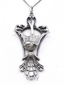 Important pendentif ancien hirondelle en argent massif Art Nouveau 1900