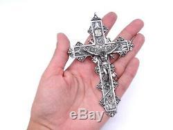 Importante croix pectorale en argent massif XVIIIeme pendentif ancien