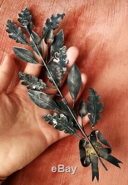 La palme avec des feuilles de chêne ancienne 19e en argent massif