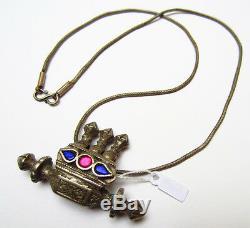 Magnifique Ancien Collier Argent ouvragé pendentif pate de verre Inde 19e