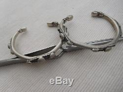Paire Bracelet Esclave Ancien Vintage Argent Massif Afrique Touareg 72grs Bb37