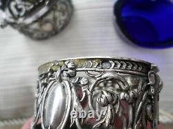 Paire salières anciennes-salerons+2 cuillères-Argent Massif Minerve-XIXe-Silver