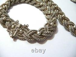 Parure ancienne collier et bracelet maillee souple argent massif