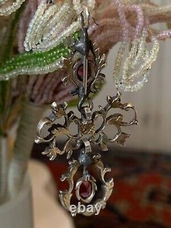 Pendentif Austro Hongrois Argent Grenat Ancien Antique Hungarian Garnet Pendant