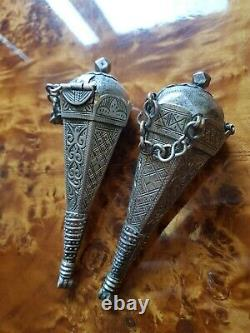 Pendentif Berbère Boite Musc Parure Maroc Argent Tiznit Ancien Maghreb XIX